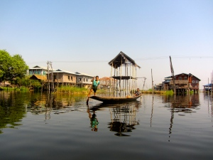 Kids in a floating village on Inle Lake