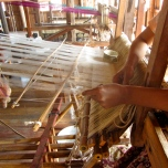Weaving at the looms on Inle Lake